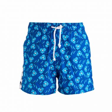 Boys Beach and Bush Shorts - Blue Flowers q