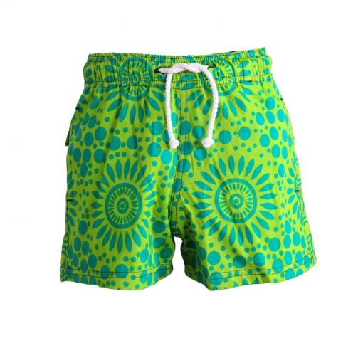 Boys Beach and Bush Shorts – Light Green Flowers 1