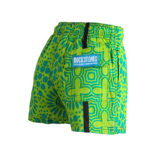 Boys Beach and Bush Shorts - Light Green Flowers 3