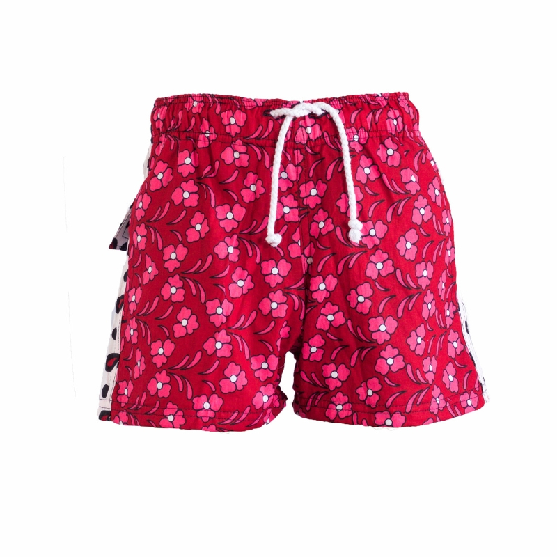 Boys Beach and Bush Shorts - Red Flowers 1