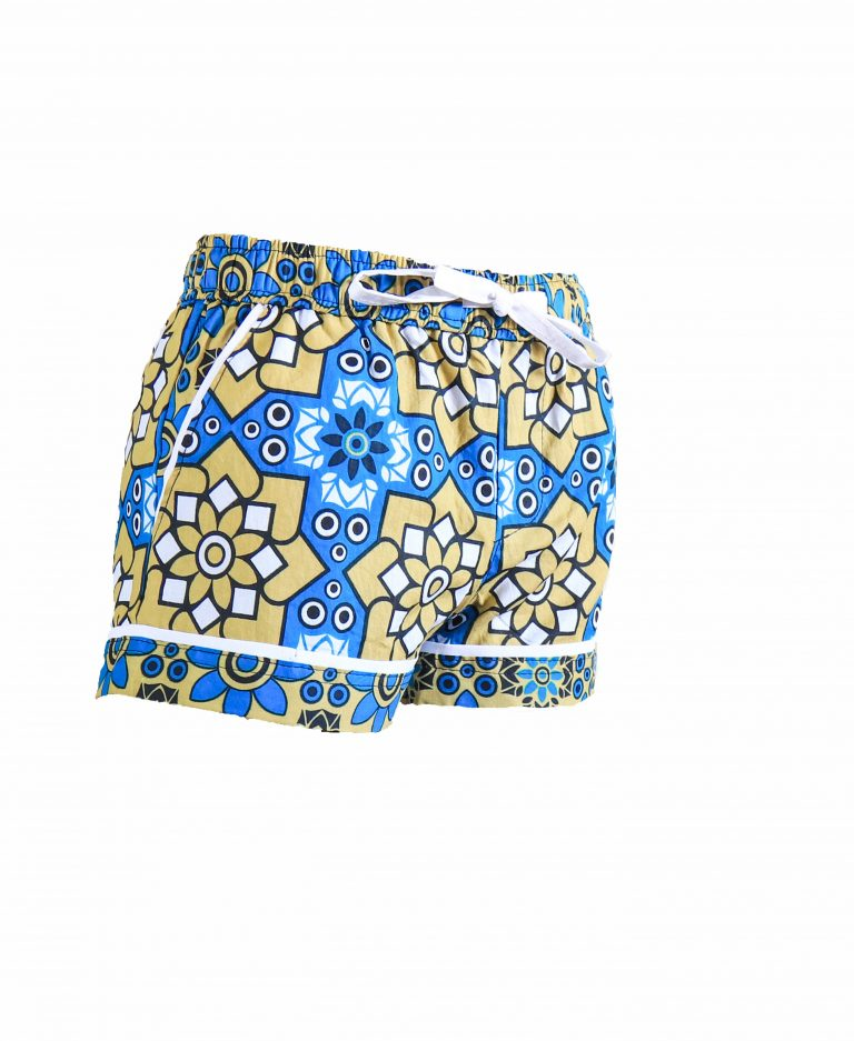 Rock and Stones Girls Beach and Bush Shorts Blue and brown flowers 1