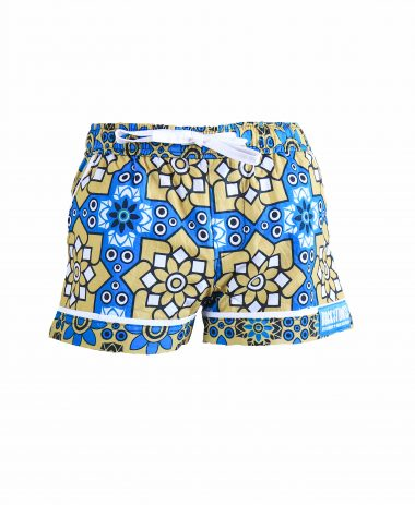 Rock and Stones Girls Beach and Bush Shorts Blue and brown flowers 3