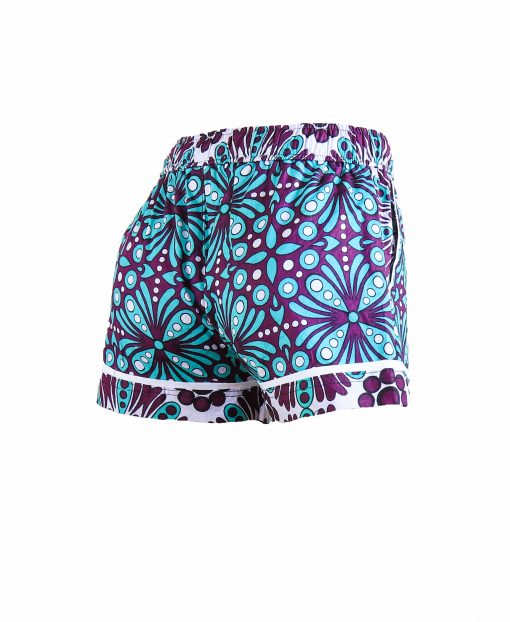 Rock and Stones Girls/Ladies Beach and Bush Shorts Purple & Blue Flowers 2