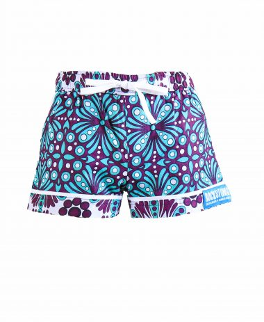 Rock and Stones Girls/Ladies Beach and Bush Shorts Purple & Blue Flowers 3