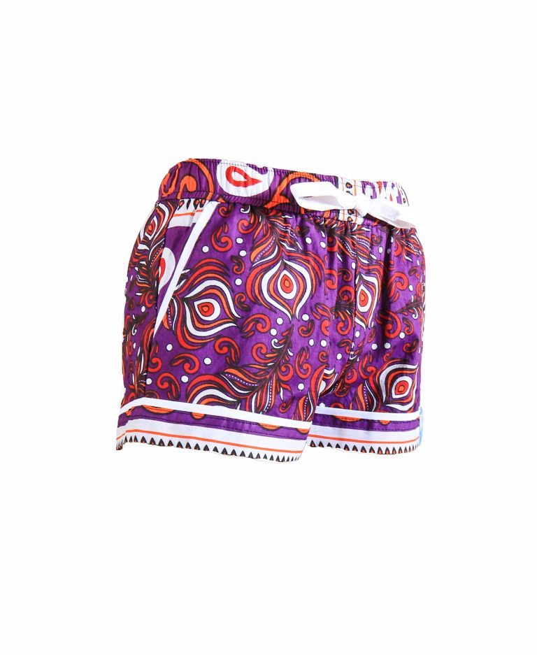 Rock and Stones Girls Beach and Bush Shorts Purple Peacock feathers 2