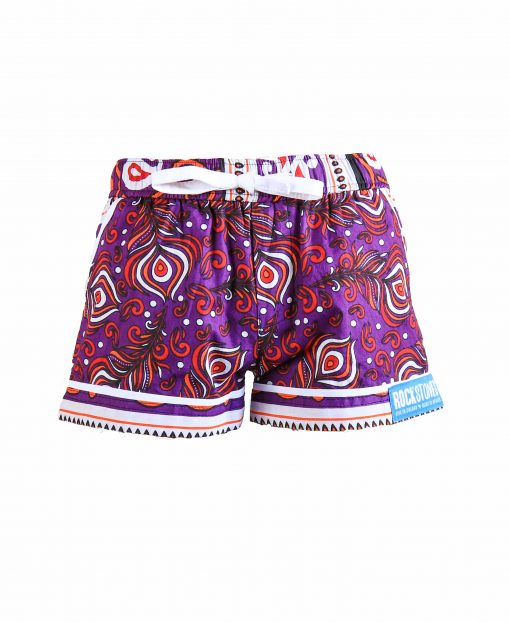 Rock and Stones Girls Beach and Bush Shorts Purple Peacock feathers 3
