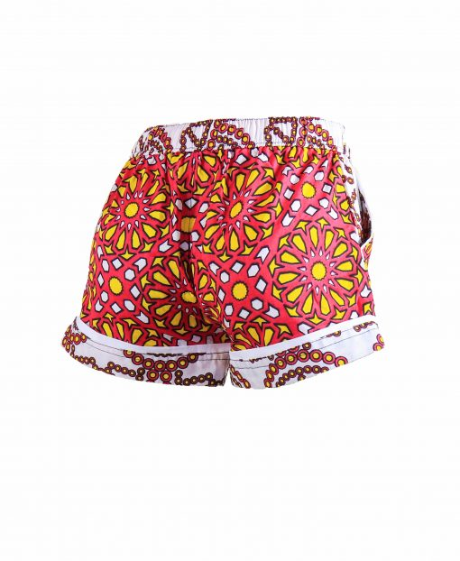 Rock and Stones Girls Beach and Bush Shorts Red & Orange Large flowers 1