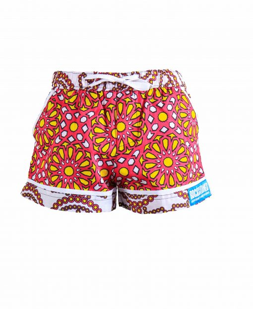 Rock and Stones Girls Beach and Bush Shorts Red & Orange Large flowers 2