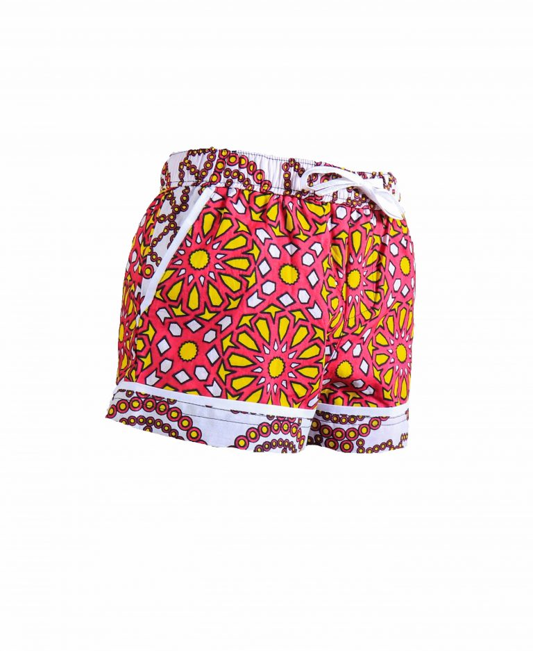 Rock and Stones Girls Beach and Bush Shorts Red & Orange Large flowers 3