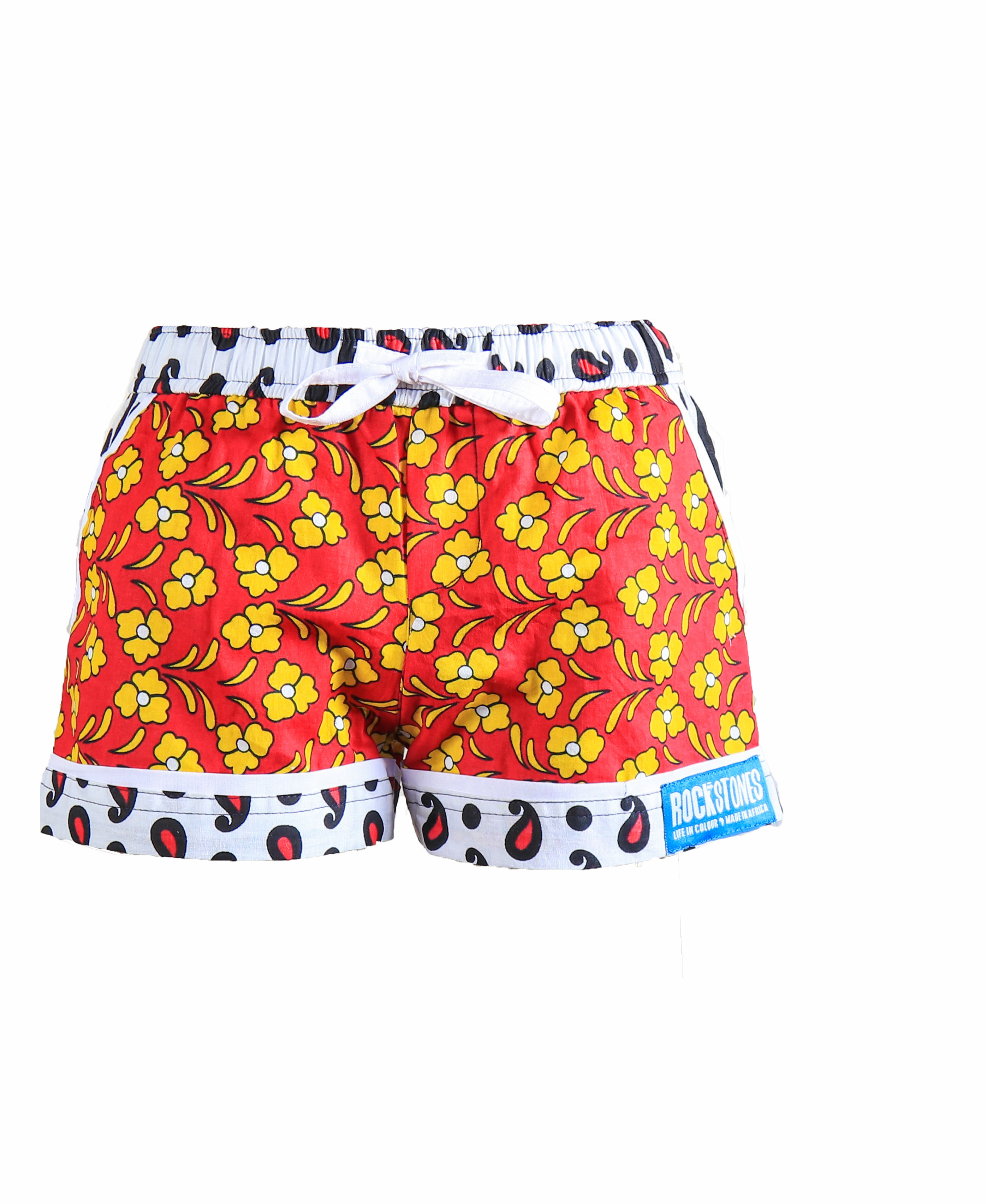 Rock and Stones Girls Beach and Bush Shorts Red & Orange flowers 3