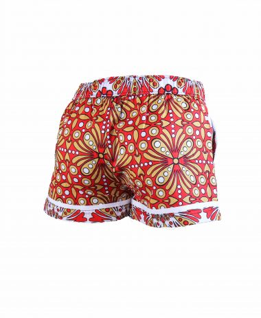 Rock and Stones Girls Beach and Bush Shorts Red and Brown flowers 1 jpg