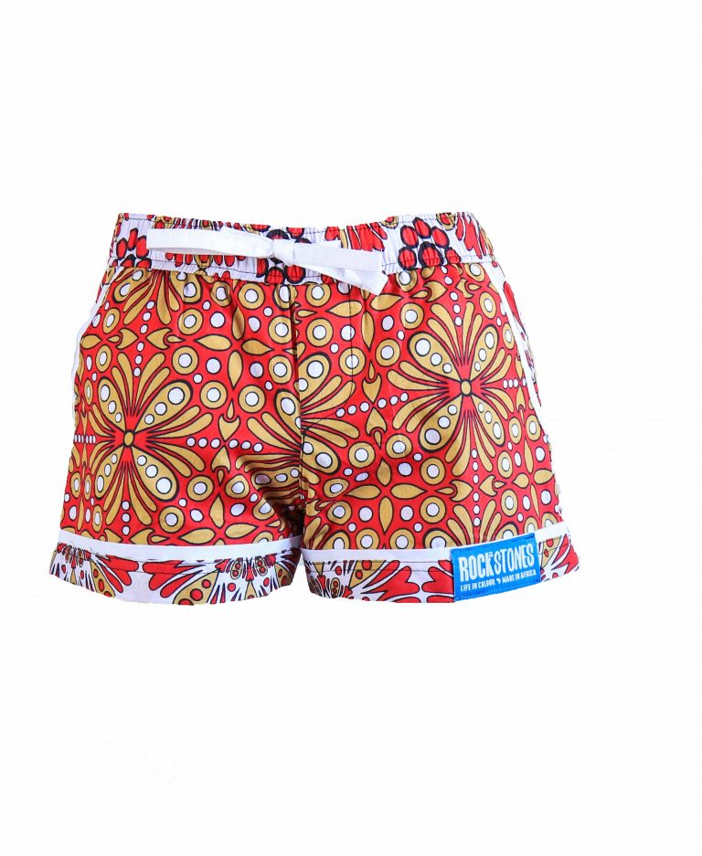 Rock and Stones Girls Beach and Bush Shorts Red and Brown flowers 2