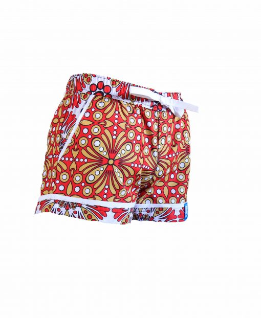 Rock and Stones Girls Beach and Bush Shorts Red and Brown flowers 3