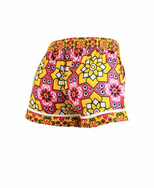 Rock and Stones Girls/Ladies Beach and Bush Shorts Yellow and Pink Stars 1