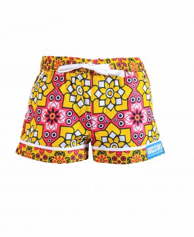 Rock and Stones Girls/Ladies Beach and Bush Shorts Yellow and Pink Stars 2