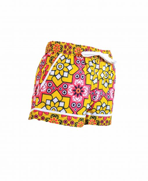 Rock and Stones Girls/Ladies Beach and Bush Shorts Yellow and Pink Stars 3