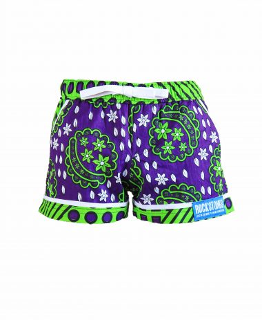 Rock and Stones Girls/Ladies Beach and Bush Shorts purple & green stars 3