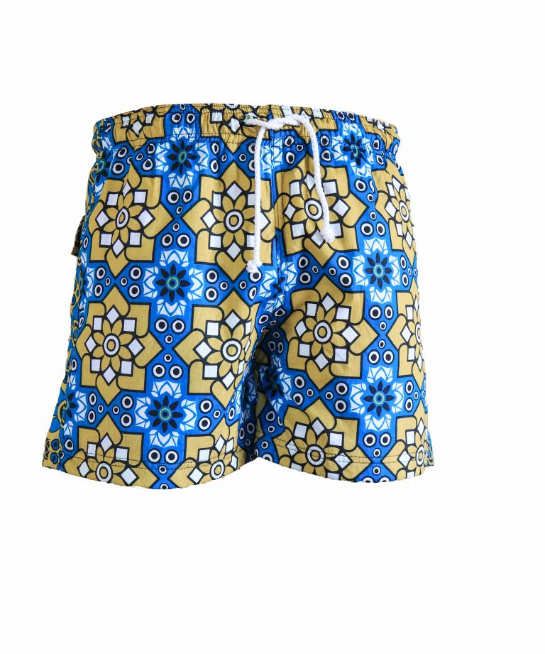 Rock and Stones Mens Beach and Bush Shorts bright blue & brown 1
