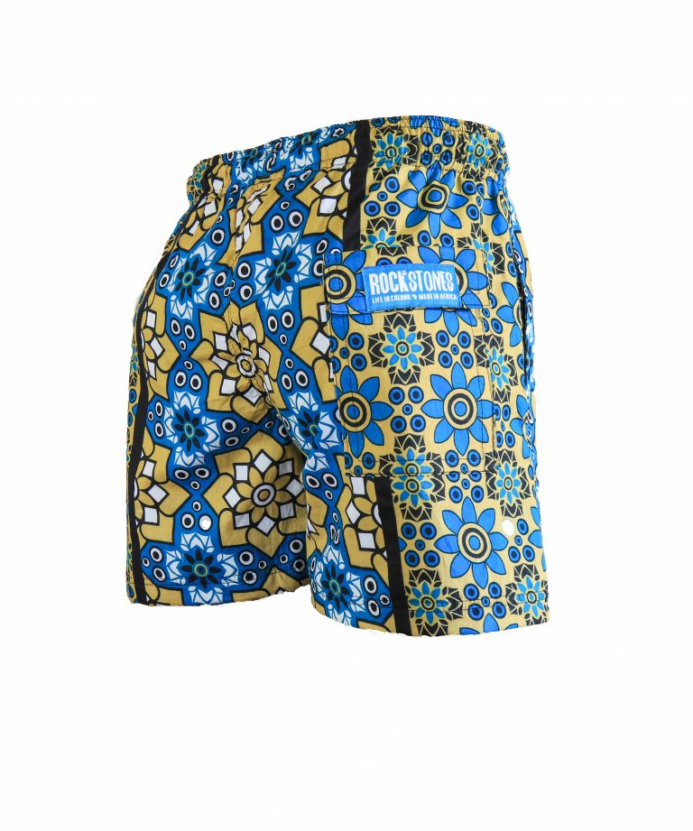 Rock and Stones Mens Beach and Bush Shorts bright blue & brown 3