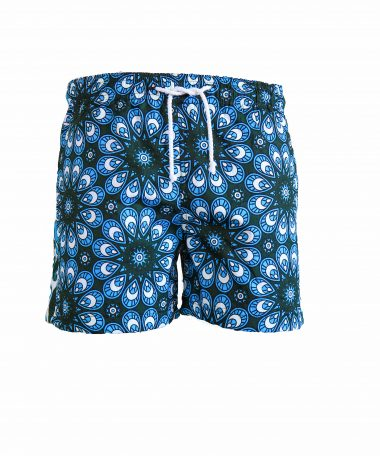 Rock and Stones Mens Beach and Bush Shorts bright blue & dark green 1