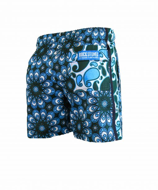 Rock and Stones Mens Beach and Bush Shorts bright blue & dark green 3