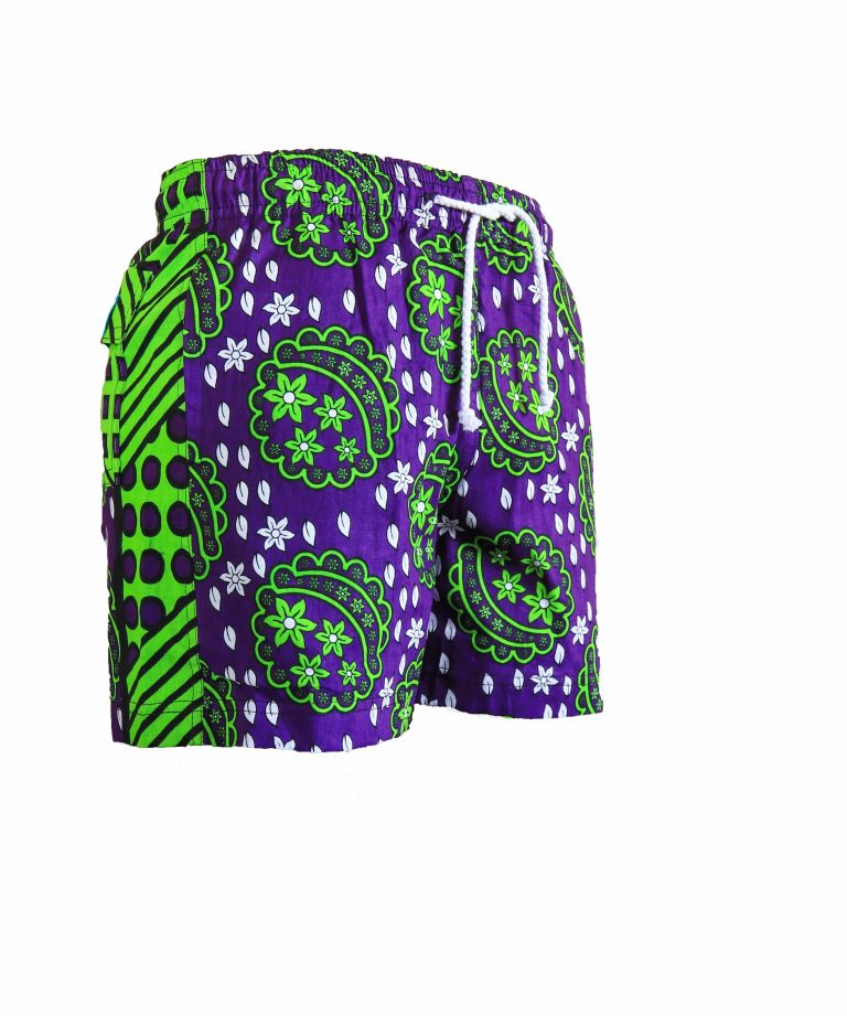 Rock and Stones Mens Beach and Bush Shorts green and purple 2