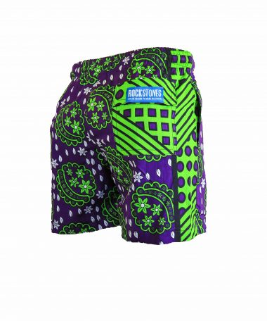 Rock and Stones Mens Beach and Bush Shorts green and purple 3