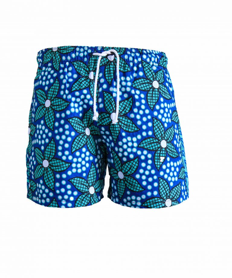 Rock and Stones Boys Beach and Bush Shorts light blue & green flowers 1