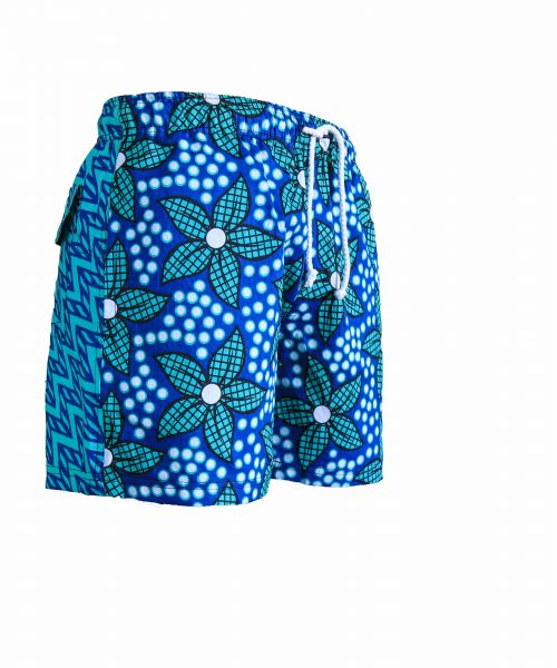 Rock and Stones Mens Beach and Bush Shorts light blue & green flowers 2