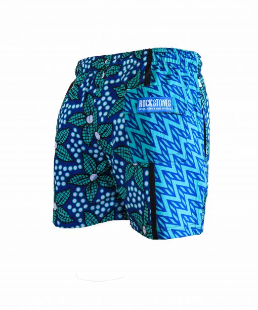 Rock and Stones Boys Beach and Bush Shorts light blue & green flowers 3