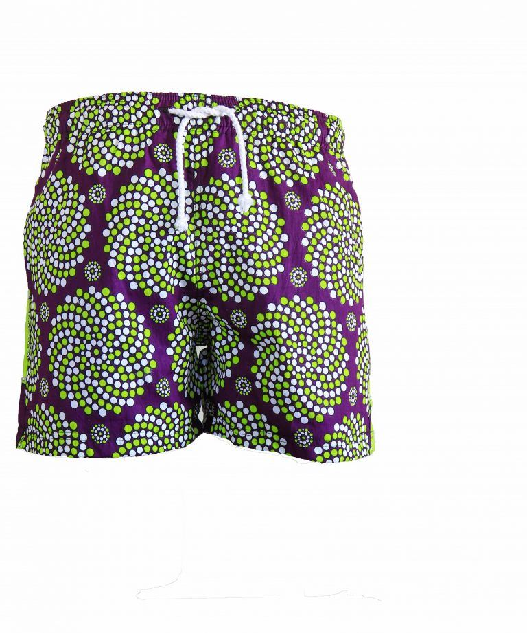 Rock and Stones Boys Beach and Bush Shorts lime green and purple 1