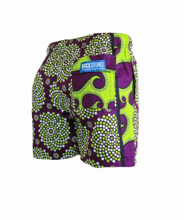 Rock and Stones Mens Beach and Bush Shorts lime green and purple 3
