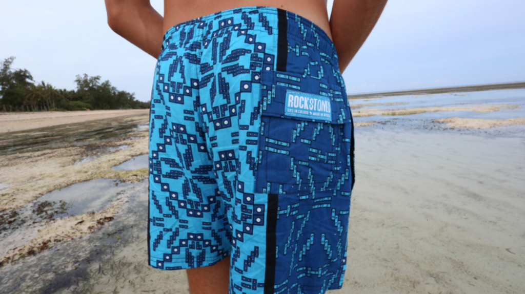 Rock and Stones shorts on the beach